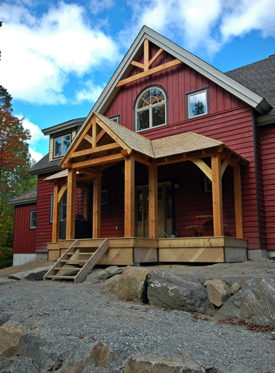 <b>Chelsea, Quebec</b><br>Timber frame entry porch and decorative timber trusses